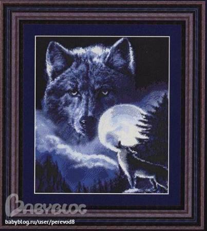 """Оригинал - Схема вышивки  """"Дух волка """" - Схемы автора  """"lapin """" - Вышивка крестом."""
