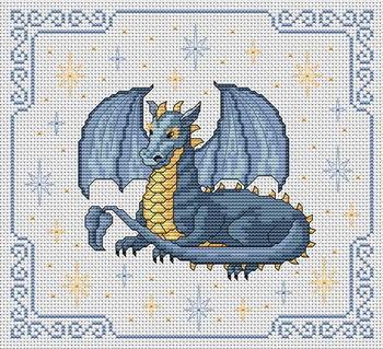 Вышивка дракона в рамке.