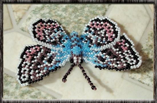 "Бабочка Голубянка-икар самка  "" Мир Бисера.com - бисероплетение, бисер схемы, мастер классы."
