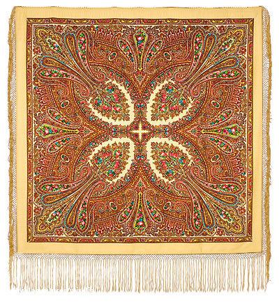 6500. Платок чистошерстяной набивной (из уплотненной ткани) с шелкововой кистью(связанной в 5 рядов) .