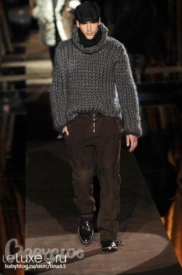 мужской свитер крупной вязки спицами.