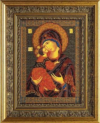 """Вес продукта: 250 g. В-147.  Набор для изготовления иконы из бисера  """"Владимирская богородица """"."""