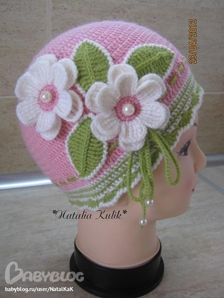 Цветок на шапочку крючком мастер класс