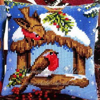 Набор для вышивания Снегири, Vervaco 973 купить в санкт петербурге Шале, Страмин, Счетный крест.