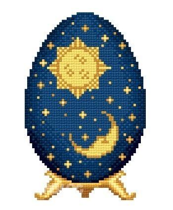 """Арт.: solaria-6112-11 Пасхальное яйцо  """"Солнце и луна """" Размер (кл.): 49 х 76 Количество цветов: 9 Производитель..."""