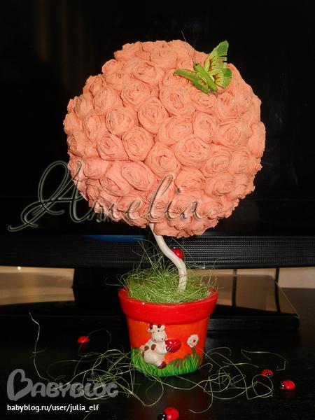 Дерево из цветов из салфеток своими руками