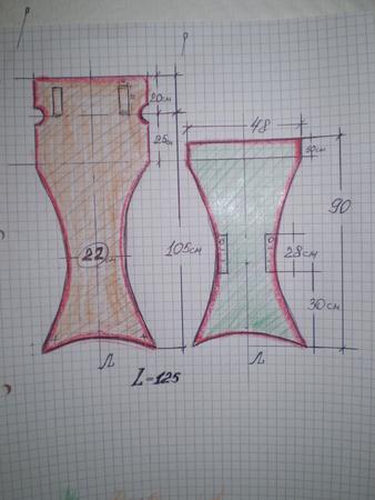 Для удобства я выбрала 2 цвета ткани. зеленую. на верхнуюю часть стульчика.Этими же цветами и раскрашена выкройка...