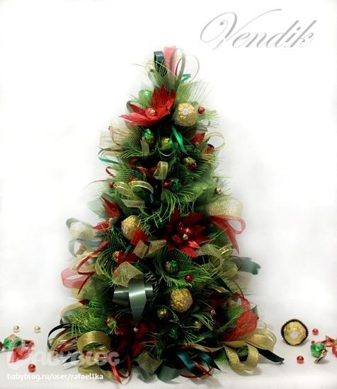 Готовимся к новому году.Делаем елочки из конфет.МК stranapap.ru