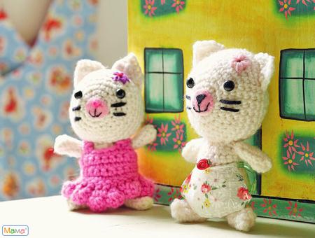 Вязаные игрушки своими руками.  Амигуруми - мышки и кошка.  0 1224.